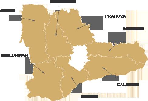 Harta regiunii Sud-Muntenia